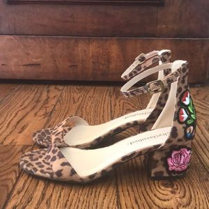 Leopard Print Sandals w/ Embroidery Flowers